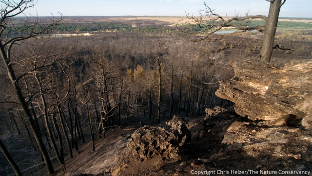 Aftermath of the 2012 Fairfield Creek Wildfire - The Nature Conservancy's Niobrara Valley Preserve.