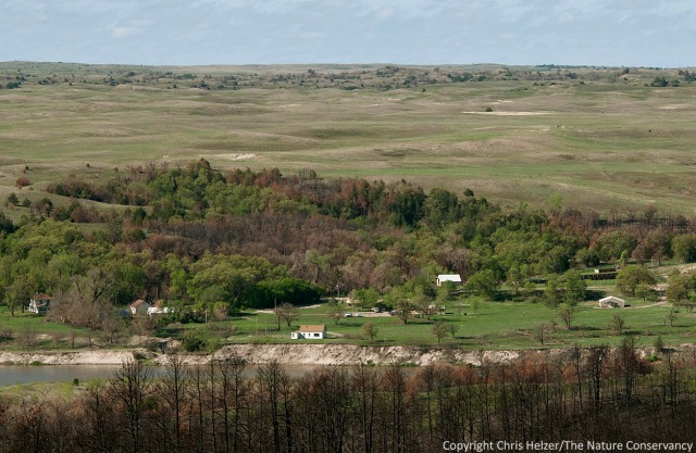 The headquarters of the Niobrara Valley Preserve with sandhills prairie behind.  If it wasn't for the ponderosa pine skeletons in the foreground, it would be difficult to know that a major wildfire had occurred last summer.