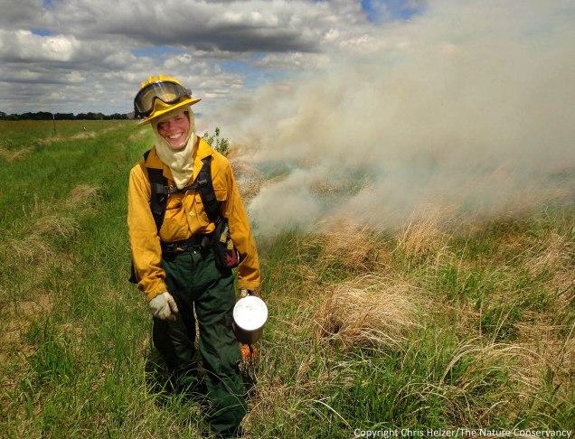 Michelle Biodrowski ignites a prescribed fire last week (June 6) at a wet-mesic prairie.  The Nature Conservancy's Platte River Prairies.