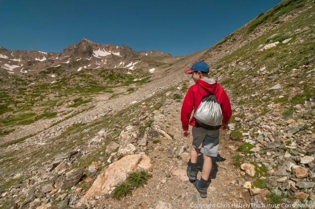 My son John hikes the trail toward Arapaho Pass.