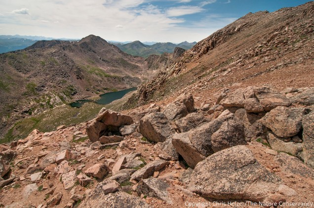 We drove up to the top of the 14,000 foot Mount Evans one afternoon.  This photo shows the aptly named Lake Abyss below.