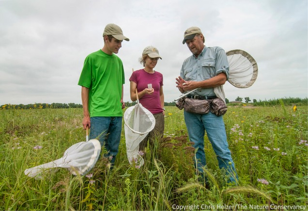 Mike Arduser (right) talks about bees with Sam Summers and Anne Stine earlier this week.