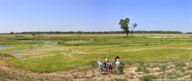 July 13, 2012. A prairie ecologist talks to a tour group about the restored wetland site and is caught on camera doing so.