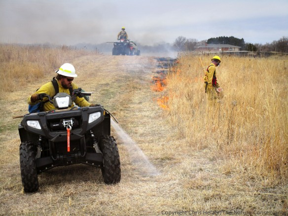 Laying down a wetline during a prescribed fire.