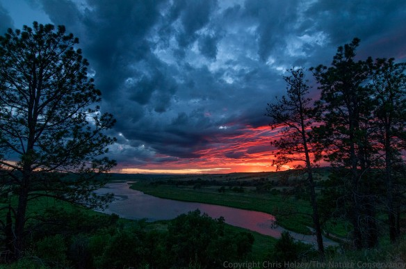 Sunset over the Niobrara River.  The Nature Conservancy's Niobrara Valley Preserve.