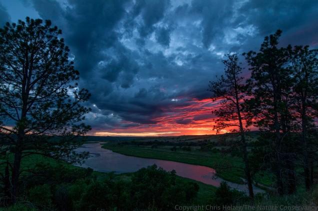Sunset over the Niobrara River.  The Nature Conservancy's Niobrara Valley Preserve.