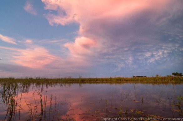 Post-storm clouds over a wetland at Springer Waterfowl Production Area, west of Aurora, Nebraska.