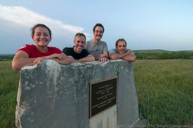 Our Nebraska crew in Kansas.  From left: Jasmine Cutter, Chris Helzer, Dillon Blankenship, and Nelson Winkel.