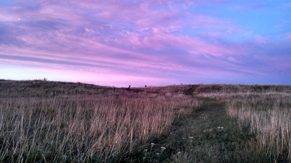 Colorful clouds over the prairie before sunrise.  Platte River Prairies. Photo by Kim Tri.