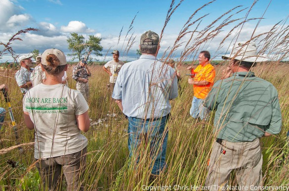 Mike Konen (in orange) from Northern Illinois University talks about soils during this year's workshop at Nachusa.  He is standing in prairie that is going to be grazed by the newly introduced herd of bison.  Grazing will give Bill and I one more thing to compare notes on...