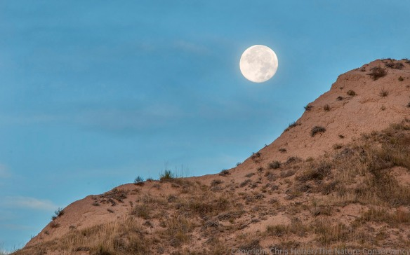 A closer look at the moon just before it dropped behind the bluffs.