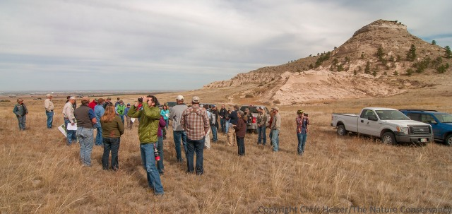 A large group from the Nebraska Natural Legacy Conference tours Bead Mountain Ranch - part of the lands owned and managed by the Wildcat Hills Wildlands.