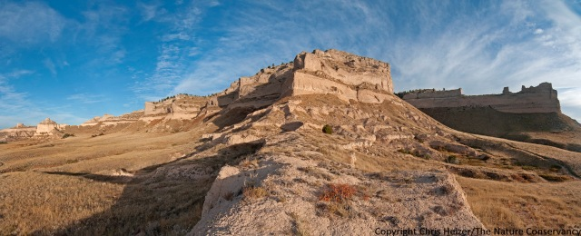 A multi-image panorama at Scotts Bluff National Monument.  The famous Mitchell Pass is on the far left.