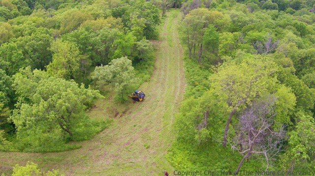 Nelso Winkel shredding brush with a skidsteer at The Nature Conservancy's Rulo Bluffs Preserve, Nebraska.  Using fire, thinning, and shredding, we are trying to allow more light to hit the ground in the woodland, which enhances oak tree regeneration, increases plant diversity, and improves habitat quality for many wildlife species.