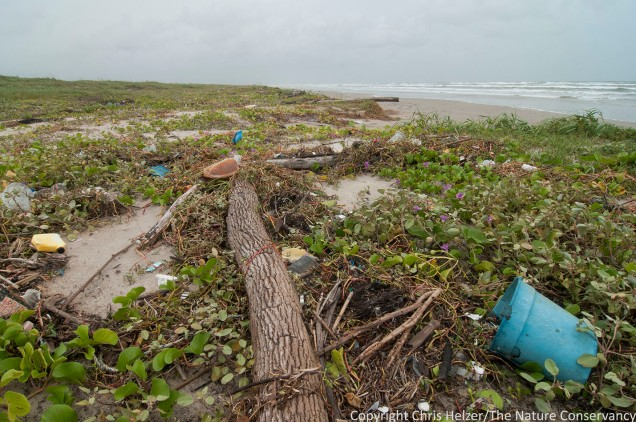 Trash washed in on beach.  San Jose Island.  Gulf of Mexico.  Port Aransas, Texas.