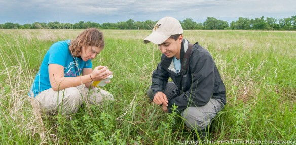 Hubbard Fellows Kim Tri and Evan Barrientos at The Nature Conservancy's Caveny Tract.