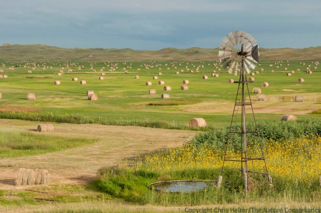 Windmill and hay bales on a ranch in the Nebraska Sandhills. Composition 1.