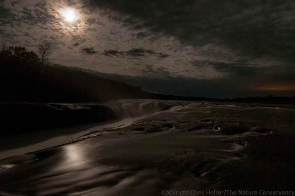 Niobrara river at the TNC Niobrara Valley Preserve. Moonlight, clouds, and stars.