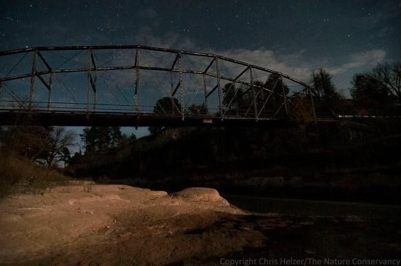 Norden bridge at the TNC Niobrara Valley Preserve. Moonlight, clouds, and stars.