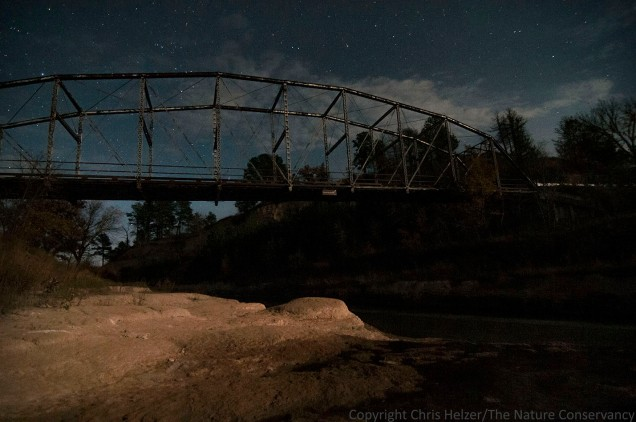 Norden bridge at the TNC Niobrara Valley Preserve. Moonlight, clouds, and stars.