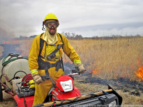 Nelson Winkel, TNC land manager for Platte River Prairies during a prescribed fire.