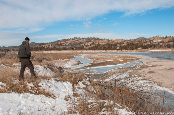 Evan Suhr. Niobrara river in winter. The Nature Conservancy's Niobrara Valley Preserve, Nebraska.