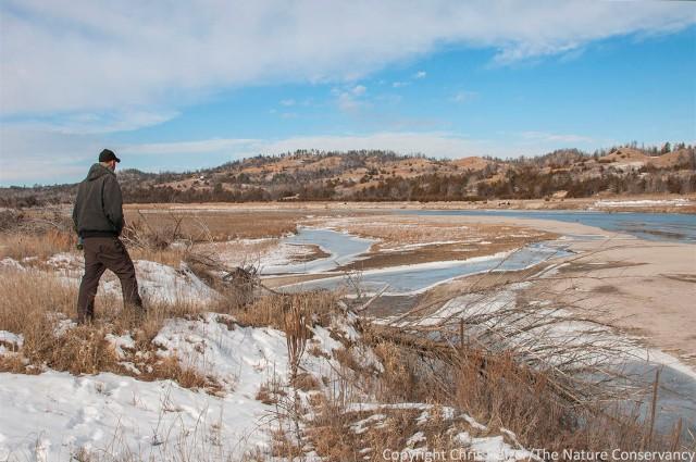 Evan Suhr. Niobrara river in winter. The Nature Conservancy's Niobrara Valley Preserve, Nebraska.