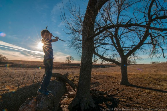 Boy with sticks. Helzer family prairie, Nebraska. Calvin Miller (Photographer's stepson)