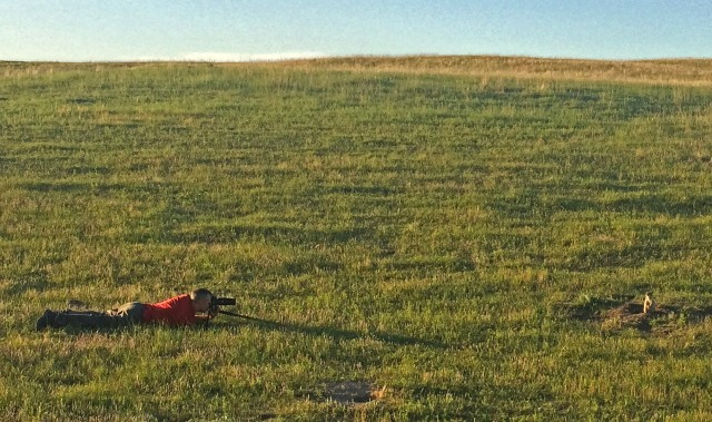Anna took this photo of me with her phone. It shows how crazy close the prairie dog let me get. Sure, I was being slow and following the rules of good wildlife stalking, but still...